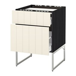 METOD /  MAXIMERA base cab f hob/2 fronts/2 drawers, Hittarp off-white, black Width: 60 cm Depth: 61.8 cm Frame, depth: 60 cm