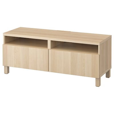 Besta Tv Bench With Drawers White Stained Oak Effect Lappviken Stubbarp White Stained Oak Effect Ikea