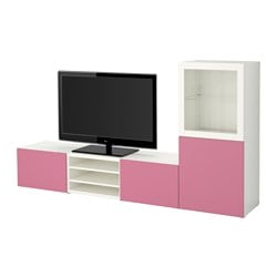 BESTÅ TV storage combination/glass doors, Lappviken pink, Sindvik white clear glass