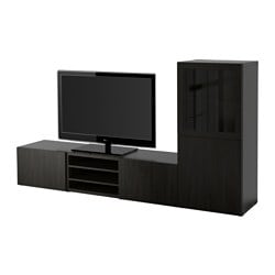 "BESTÅ TV storage combination/glass doors, Lappviken, Sindvik black-brown clear glass Width: 94 1/2 "" Depth: 15 3/4 "" Height: 50 3/8 "" Width: 240 cm Depth: 40 cm Height: 128 cm"