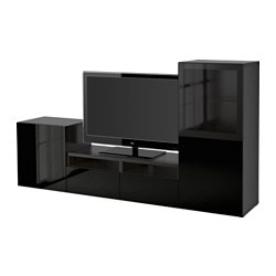 "BESTÅ TV storage combination/glass doors, black-brown, Selsviken high gloss/black clear glass Width: 94 1/2 "" Depth: 15 3/4 "" Height: 50 3/8 "" Width: 240 cm Depth: 40 cm Height: 128 cm"