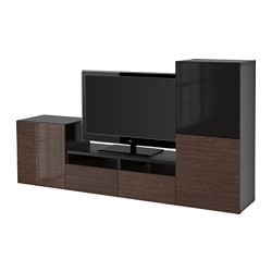 BESTÅ TV storage combination/glass doors, Selsviken high-gloss/brown smoked glass, black-brown