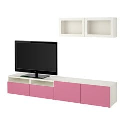 "BESTÅ TV storage combination/glass doors, Lappviken pink, Sindvik white clear glass Width: 94 1/2 "" Height: 65 3/8 "" Min. depth: 7 7/8 "" Width: 240 cm Height: 166 cm Min. depth: 20 cm"