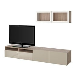 "BESTÅ TV storage combination/glass doors, Selsviken high gloss/beige clear glass, walnut effect light gray Min. depth: 7 7/8 "" Max. depth: 15 3/4 "" Height: 65 3/8 "" Min. depth: 20 cm Max. depth: 40 cm Height: 166 cm"