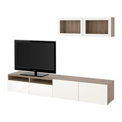 "BESTÅ TV storage combination/glass doors, Selsviken high gloss/white clear glass, walnut effect light gray Width: 94 1/2 "" Min. depth: 7 7/8 "" Max. depth: 15 3/4 "" Width: 240 cm Min. depth: 20 cm Max. depth: 40 cm"
