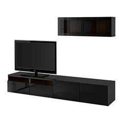 BESTÅ TV storage combination/glass doors, black-brown, Selsviken high-gloss/black clear glass