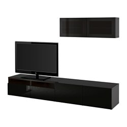 BESTÅ TV storage combination/glass doors, Selsviken high-gloss/black smoked glass, black-brown Max. screen size: 50 ""