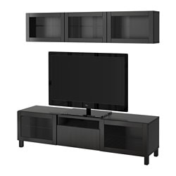 BESTÅ TV storage combination/glass doors, Sindvik black-brown clear glass, Lappviken Width: 180 cm Min. depth: 20 cm Max. depth: 40 cm