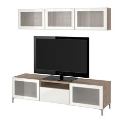 BESTÅ TV storage combination/glass doors, Selsviken high-gloss/white frosted glass, grey stained walnut effect Max. screen size: 70 ""