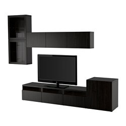 BESTÅ TV storage combination/glass doors, Sindvik black-brown clear glass, Lappviken Width: 300 cm Min. depth: 20 cm Max. depth: 40 cm