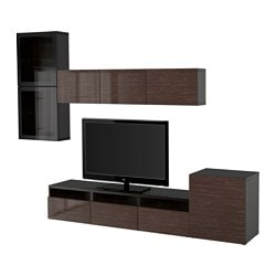 "BESTÅ TV storage combination/glass doors, black-brown, Selsviken high gloss/brown clear glass Width: 118 1/8 "" Height: 83 1/8 "" Min. depth: 7 7/8 "" Width: 300 cm Height: 211 cm Min. depth: 20 cm"