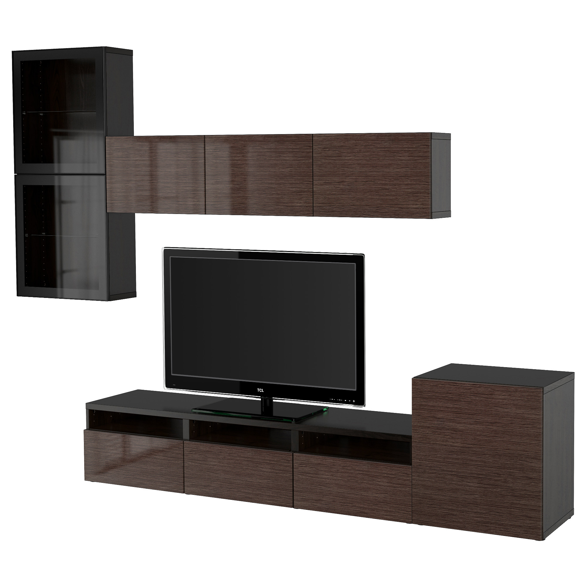 BESTÅ TV Storage Combination/glass Doors, Black Brown, Selsviken High Gloss/