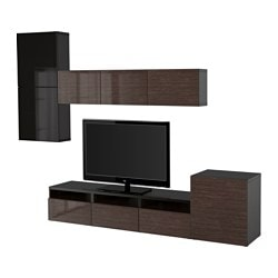 BESTÅ TV storage combination/glass doors, Selsviken high-gloss/brown smoked glass, black-brown Width: 300 cm Min. depth: 20 cm Max. depth: 40 cm