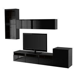 "BESTÅ TV storage combination/glass doors, Selsviken high gloss/black clear glass, black-brown Width: 118 1/8 "" Min. depth: 7 7/8 "" Max. depth: 15 3/4 "" Width: 300 cm Min. depth: 20 cm Max. depth: 40 cm"