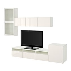 BESTÅ TV storage combination/glass doors, white, Selsviken high-gloss/white frosted glass