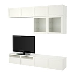 "BESTÅ TV storage combination/glass doors, Hanviken, Sindvik white clear glass Width: 94 1/2 "" Depth: 15 3/4 "" Height: 90 1/2 "" Width: 240 cm Depth: 40 cm Height: 230 cm"