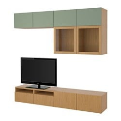 BESTÅ TV storage combination/glass doors, Sindvik oak effect clear glass, Lappviken green Depth: 40 cm Height: 230 cm Width: 240 cm