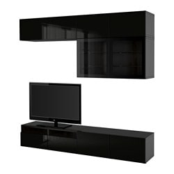 BESTÅ TV storage combination/glass doors, black-brown, Selsviken high gloss/black clear glass
