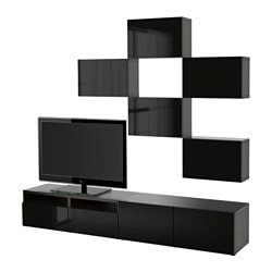 BESTÅ TV storage combination, Selsviken high-gloss/black, black-brown Width: 240 cm Min. depth: 20 cm Max. depth: 40 cm