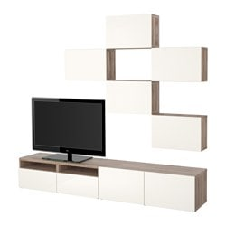 BESTÅ TV storage combination, Selsviken high-gloss/white, grey stained walnut effect Max. screen size: 50 ""