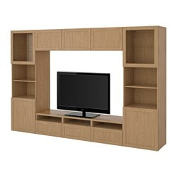 BESTÅ TV storage combination/glass doors, Sindvik oak effect clear glass, Hanviken Width: 300 cm Depth: 40 cm Height: 192 cm