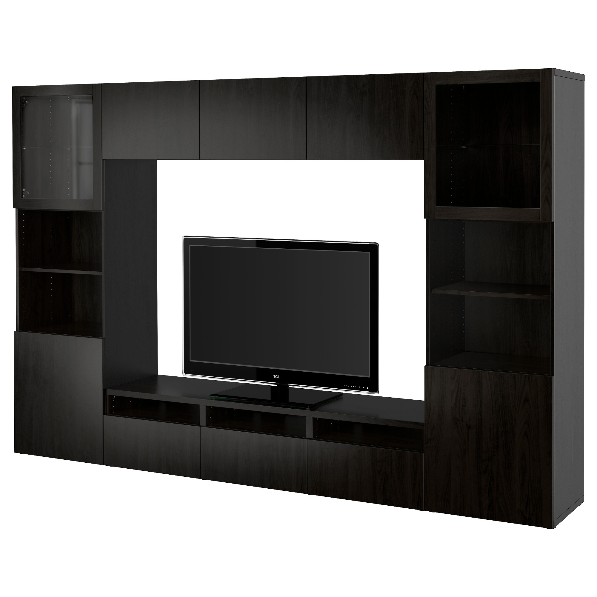 Attractive BESTÅ TV Storage Combination/glass Doors, Lappviken, Sindvik Black Brown  Clear Glass