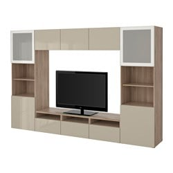 "BESTÅ TV storage combination/glass doors, Selsviken high gloss/beige frosted glass, walnut effect light gray Width: 118 1/8 "" Depth: 15 3/4 "" Height: 75 5/8 "" Width: 300 cm Depth: 40 cm Height: 192 cm"