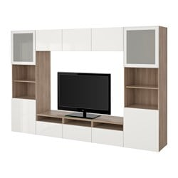 BESTÅ TV storage combination/glass doors, Selsviken high-gloss/white frosted glass, grey stained walnut effect Width: 300 cm Depth: 40 cm Height: 192 cm