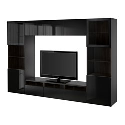 "BESTÅ TV storage combination/glass doors, Selsviken high gloss/black clear glass, black-brown Width: 118 1/8 "" Depth: 15 3/4 "" Height: 75 5/8 "" Width: 300 cm Depth: 40 cm Height: 192 cm"