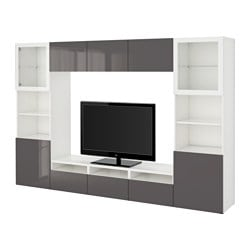 "BESTÅ TV storage combination/glass doors, Selsviken high-gloss/gray clear glass, white Width: 118 1/8 "" Depth: 15 3/4 "" Height: 75 5/8 "" Width: 300 cm Depth: 40 cm Height: 192 cm"