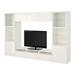 "BESTÅ TV storage combination/glass doors, white, Selsviken high gloss/white clear glass Width: 118 1/8 "" Depth: 15 3/4 "" Height: 75 5/8 "" Width: 300 cm Depth: 40 cm Height: 192 cm"
