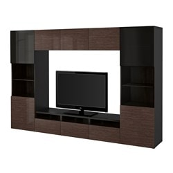 "BESTÅ TV storage combination/glass doors, Selsviken high gloss/brown smoked glass, black-brown Width: 118 1/8 "" Depth: 15 3/4 "" Height: 75 5/8 "" Width: 300 cm Depth: 40 cm Height: 192 cm"