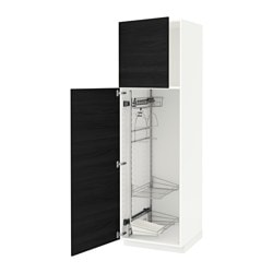 METOD high cabinet with cleaning interior, Tingsryd black, white Width: 60.0 cm Depth: 61.6 cm Frame, depth: 60.0 cm