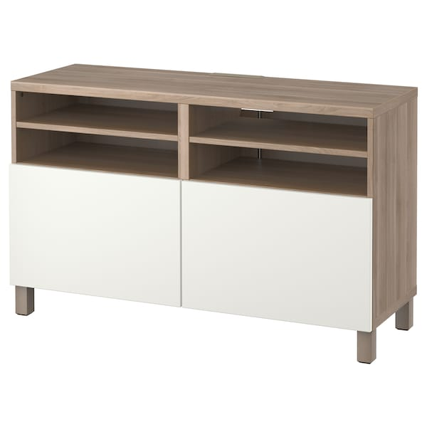 Mobile Porta Tv Ikea.Besta Tv Unit With Doors Walnut Effect Light Gray Lappviken Lappviken Stubbarp White