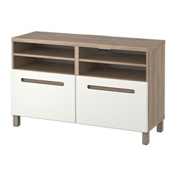 "BESTÅ TV bench with doors, Marviken white, walnut effect light gray Width: 47 1/4 "" Depth: 15 3/4 "" Height: 29 1/8 "" Width: 120 cm Depth: 40 cm Height: 74 cm"