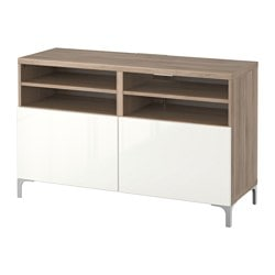 BESTÅ TV bench with doors, Selsviken high-gloss/white, grey stained walnut effect Width: 120 cm Depth: 40 cm Height: 74 cm