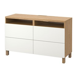 BESTÅ TV bench with drawers, Lappviken white, oak effect Width: 120 cm Depth: 40 cm Height: 74 cm