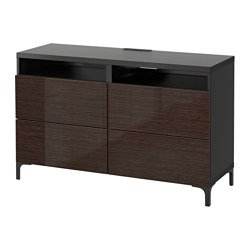 BESTÅ TV bench with drawers, Selsviken high-gloss/brown, black-brown Width: 120 cm Depth: 40 cm Height: 74 cm