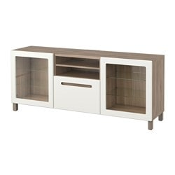 "BESTÅ TV unit with drawers, Marviken white clear glass, walnut effect light gray Width: 70 7/8 "" Depth: 15 3/4 "" Height: 29 1/8 "" Width: 180 cm Depth: 40 cm Height: 74 cm"