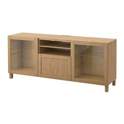 BESTÅ TV bench with drawers, Sindvik oak effect clear glass, Hanviken Width: 180 cm Depth: 40 cm Height: 74 cm