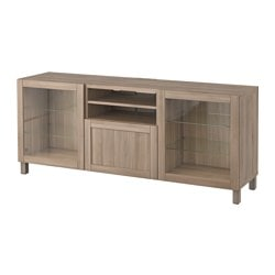 "BESTÅ TV unit with drawers, Hanviken, Sindvik gray stained walnut eff clear glass Width: 70 7/8 "" Depth: 15 3/4 "" Height: 29 1/8 "" Width: 180 cm Depth: 40 cm Height: 74 cm"