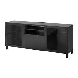 BESTÅ TV bench with drawers, Lappviken, Sindvik black-brown clear glass Width: 180 cm Depth: 40 cm Height: 74 cm
