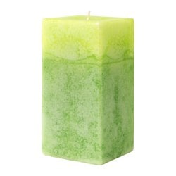 ANSÖKA scented block candle, green, Summer morning Diameter: 7 cm Height: 14 cm Burning time: 45 hr