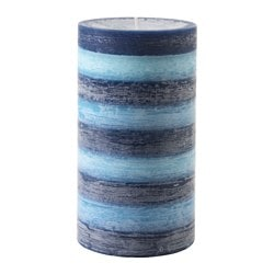 KNÄCKIG scented block candle, blue, Ocean breeze Diameter: 10 cm Height: 18 cm Burning time: 75 hr