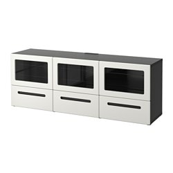 "BESTÅ TV bench with doors and drawers, Marviken white clear glass, black-brown Width: 70 7/8 "" Depth: 15 3/4 "" Height: 25 1/4 "" Width: 180 cm Depth: 40 cm Height: 64 cm"
