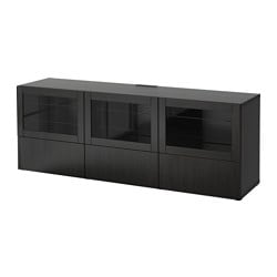"BESTÅ TV unit with doors and drawers, Lappviken, Sindvik black-brown clear glass Width: 70 7/8 "" Depth: 15 3/4 "" Height: 25 1/4 "" Width: 180 cm Depth: 40 cm Height: 64 cm"