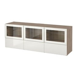 BESTÅ TV unit with doors and drawers, walnut effect light gray, Selsviken high gloss/white clear glass