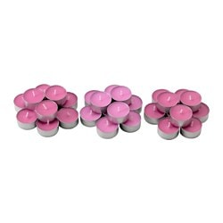 SINNLIG scented tealight, pink, blooming rose Diameter: 38 mm Burning time: 4 hr Package quantity: 30 pack