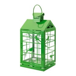 RAPPT lantern for block candle, in/outdoor green Height: 46 cm