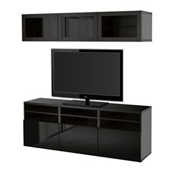 "BESTÅ TV storage combination/glass doors, Sindvik black-brown clear glass, Hanviken Depth: 15 3/4 "" Height: 75 5/8 "" Width: 70 7/8 "" Depth: 40 cm Height: 192 cm Width: 180 cm"
